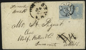 Sale Number 1087, Lot Number 333, General Issues On Cover: Scott 3-45c Light Milky Blue, Stone 2 (4b), 5c Light Milky Blue, Stone 2 (4b)