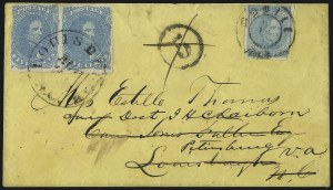 Sale Number 1087, Lot Number 334, General Issues On Cover: Scott 3-45c Light Milky Blue, Stone 2 (4b), 5c Light Milky Blue, Stone 2 (4b)