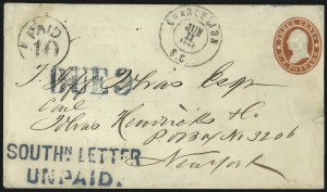 Sale Number 1087, Lot Number 47, Suspension of Mail RoutesSOUTHN. LETTER UNPAID, SOUTHN. LETTER UNPAID