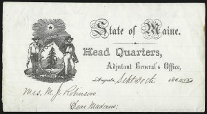 Sale Number 1087, Lot Number 589, Flag-of-Truce Mail: Civilians and Confederate PrisonsState of Maine, Head Quarters, Adjutant General's Office (Camp Ford), State of Maine, Head Quarters, Adjutant General's Office (Camp Ford)