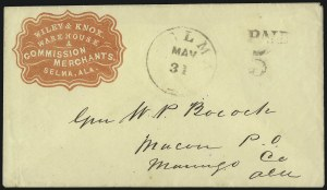Sale Number 1087, Lot Number 81, Handstamped Paid & Due MarkingsSelma Ala. May 31 (1862), Selma Ala. May 31 (1862)