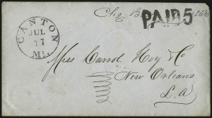 Sale Number 1087, Lot Number 86, Handstamped Paid & Due MarkingsCanton Miss. Jul. 17 (1861), Canton Miss. Jul. 17 (1861)