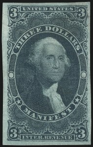 Sale Number 1089, Lot Number 249, First Issue Imperforate, $2.00-$200.00$3.00 Manifest, Imperforate (R86a), $3.00 Manifest, Imperforate (R86a)