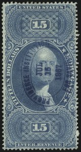 Sale Number 1089, Lot Number 309, First Issue Perforated$15.00 Mortgage, Milky Blue, Perforated (R97f), $15.00 Mortgage, Milky Blue, Perforated (R97f)