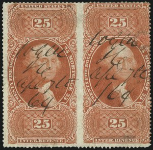 Sale Number 1089, Lot Number 314, First Issue Perforated$25.00 Mortgage, Perforated, Horizontal Pair, Imperforate Between (R100e), $25.00 Mortgage, Perforated, Horizontal Pair, Imperforate Between (R100e)