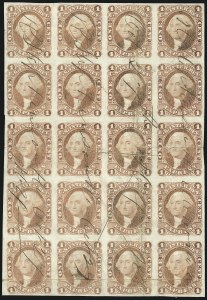 Sale Number 1089, Lot Number 318, First Issue Blocks and Record-Size Multiples, Imperforate, 1c-60c1c Express, Imperforate (R1a), 1c Express, Imperforate (R1a)
