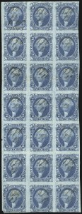 Sale Number 1089, Lot Number 321, First Issue Blocks and Record-Size Multiples, Imperforate, 1c-60c2c Bank Check, Blue, Imperforate (R5a), 2c Bank Check, Blue, Imperforate (R5a)