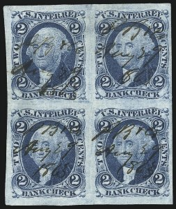 Sale Number 1089, Lot Number 322, First Issue Blocks and Record-Size Multiples, Imperforate, 1c-60c2c Bank Check, Blue, Imperforate (R5a), 2c Bank Check, Blue, Imperforate (R5a)