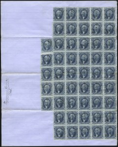 Sale Number 1089, Lot Number 323, First Issue Blocks and Record-Size Multiples, Imperforate, 1c-60c2c Certificate, Blue, Imperforate (R7a), 2c Certificate, Blue, Imperforate (R7a)