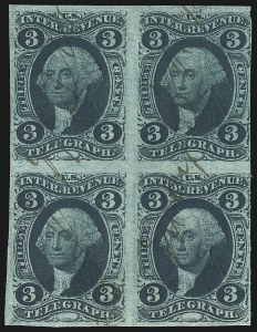 Sale Number 1089, Lot Number 325, First Issue Blocks and Record-Size Multiples, Imperforate, 1c-60c3c Telegraph, Imperforate (R19a), 3c Telegraph, Imperforate (R19a)