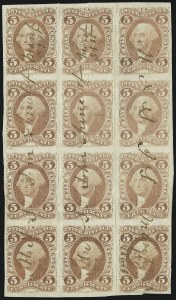 Sale Number 1089, Lot Number 327, First Issue Blocks and Record-Size Multiples, Imperforate, 1c-60c5c Certificate, Imperforate (R24a), 5c Certificate, Imperforate (R24a)