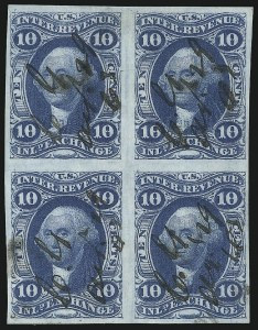 Sale Number 1089, Lot Number 329, First Issue Blocks and Record-Size Multiples, Imperforate, 1c-60c10c Inland Exchange, Imperforate (R36a), 10c Inland Exchange, Imperforate (R36a)