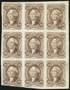 Sale Number 1089, Lot Number 332, First Issue Blocks and Record-Size Multiples, Imperforate, 1c-60c20c Foreign Exchange, Imperforate (R41a), 20c Foreign Exchange, Imperforate (R41a)