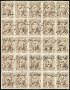 Sale Number 1089, Lot Number 334, First Issue Blocks and Record-Size Multiples, Imperforate, 1c-60c20c Inland Exchange, Imperforate (R42a), 20c Inland Exchange, Imperforate (R42a)