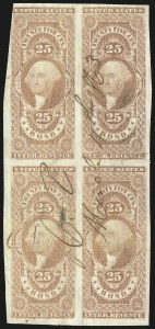 Sale Number 1089, Lot Number 335, First Issue Blocks and Record-Size Multiples, Imperforate, 1c-60c25 Bond, Imperforate (R43a), 25 Bond, Imperforate (R43a)