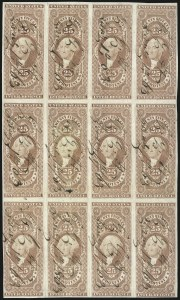 Sale Number 1089, Lot Number 339, First Issue Blocks and Record-Size Multiples, Imperforate, 1c-60c25c Protest, Imperforate (R49a), 25c Protest, Imperforate (R49a)
