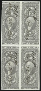 Sale Number 1089, Lot Number 342, First Issue Blocks and Record-Size Multiples, Imperforate, 1c-60c30c Foreign Exchange, Imperforate (R51a), 30c Foreign Exchange, Imperforate (R51a)