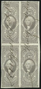 Sale Number 1089, Lot Number 343, First Issue Blocks and Record-Size Multiples, Imperforate, 1c-60c30c Inland Exchange, Imperforate (R52a), 30c Inland Exchange, Imperforate (R52a)