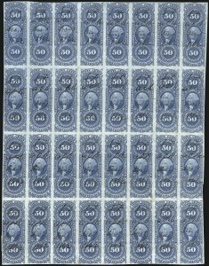 Sale Number 1089, Lot Number 344, First Issue Blocks and Record-Size Multiples, Imperforate, 1c-60c50c Conveyance, Imperforate (R54a), 50c Conveyance, Imperforate (R54a)