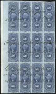 Sale Number 1089, Lot Number 345, First Issue Blocks and Record-Size Multiples, Imperforate, 1c-60c50c Life Insurance, Imperforate (R58a), 50c Life Insurance, Imperforate (R58a)
