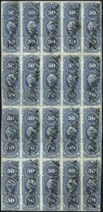 Sale Number 1089, Lot Number 346, First Issue Blocks and Record-Size Multiples, Imperforate, 1c-60c50c Mortgage, Imperforate (R59a), 50c Mortgage, Imperforate (R59a)