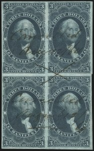 Sale Number 1089, Lot Number 367, First Issue Blocks and Record-Size Multiples, Imperforate, $1.00-$200.00$3.00 Manifest, Imperforate (R86a), $3.00 Manifest, Imperforate (R86a)