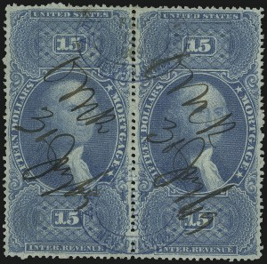Sale Number 1089, Lot Number 446, First Issue Blocks and Record-Size Multiples, Perforated$15.00 Mortgage, Milky Blue, Perforated (R97f), $15.00 Mortgage, Milky Blue, Perforated (R97f)