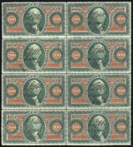 Sale Number 1089, Lot Number 451, First Issue Blocks and Record-Size Multiples, Perforated$200.00 U.S.I.R., Perforated (R102c), $200.00 U.S.I.R., Perforated (R102c)