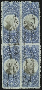 Sale Number 1089, Lot Number 496, Second Issue Blocks and Largest Recorded Multiples25c Blue & Black, Second Issue, Sewing Machine Perforations (R112b), 25c Blue & Black, Second Issue, Sewing Machine Perforations (R112b)