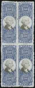 Sale Number 1089, Lot Number 498, Second Issue Blocks and Largest Recorded Multiples50c Blue & Black, Second Issue, Sewing Machine Perforations (R115a), 50c Blue & Black, Second Issue, Sewing Machine Perforations (R115a)
