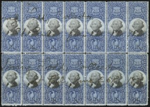 Sale Number 1089, Lot Number 504, Second Issue Blocks and Largest Recorded Multiples$10.00 Blue & Black, Second Issue (R128), $10.00 Blue & Black, Second Issue (R128)