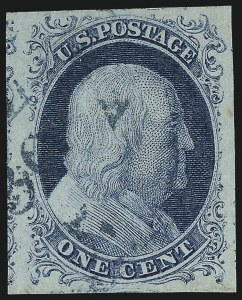 Sale Number 1090, Lot Number 1126, 1851-56 Issue (Scott 6-17)1c Blue, Ty. II (7), 1c Blue, Ty. II (7)