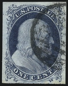 Sale Number 1090, Lot Number 1127, 1851-56 Issue (Scott 6-17)1c Blue, Ty. II (7), 1c Blue, Ty. II (7)