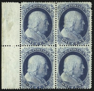 Sale Number 1090, Lot Number 1147, 1857-60 Issue (Scott 18-39)1c Blue, Ty. II-II/I-I (20-20/18-18), 1c Blue, Ty. II-II/I-I (20-20/18-18)