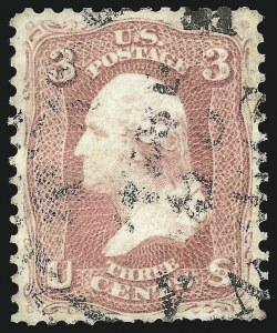 "Sale Number 1090, Lot Number 1192, 1861-66 Issue (Scott 56-78)3c ""Pigeon Blood Pink"" (Certified as 64a), 3c ""Pigeon Blood Pink"" (Certified as 64a)"