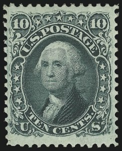 "Sale Number 1090, Lot Number 1197, 1861-66 Issue (Scott 56-78)10c Yellow Green, ""TAG"" Double Transfer (68 var), 10c Yellow Green, ""TAG"" Double Transfer (68 var)"