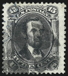 Sale Number 1090, Lot Number 1212, 1861-66 Issue (Scott 56-78)15c Black (77), 15c Black (77)