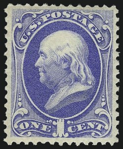 Sale Number 1090, Lot Number 1325, 1873-83 Continental & American Bank Note Co. Issues (Scott 156-218)1c Ultramarine (156). Mint N.H, 1c Ultramarine (156). Mint N.H