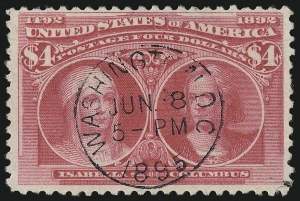 Sale Number 1090, Lot Number 1401, 1893 Columbian Issue (Scott 230-245)$4.00 Rose Carmine, Columbian (244a), $4.00 Rose Carmine, Columbian (244a)