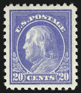 Sale Number 1090, Lot Number 1514, 1912-15 Washington-Franklin Issues (Scott 405-461)20c Ultramarine (438), 20c Ultramarine (438)
