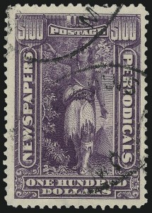 Sale Number 1090, Lot Number 1696, Newspapers and Periodicals, Parcel Post, Postal Stationery, Revenues$100.00 Purple, 1895 Watermarked Issue (PR125), $100.00 Purple, 1895 Watermarked Issue (PR125)