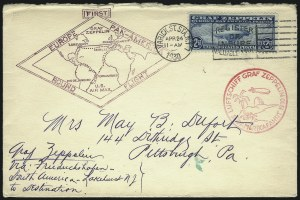 Sale Number 1090, Lot Number 2289, Flight and Air Post Covers$1.30 and $2.60 Graf Zeppelin (C14, C15), $1.30 and $2.60 Graf Zeppelin (C14, C15)