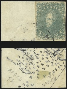 Sale Number 1090, Lot Number 2406, Confederate States: General Issues off-Cover2c Green (3), 2c Green (3)