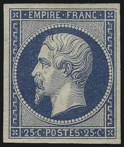Sale Number 1091, Lot Number 12, France 1849-50 Ceres and 1852-69 Napoleon IssuesFRANCE, 1853, 25c Blue on Bluish (17; Yvert 15), FRANCE, 1853, 25c Blue on Bluish (17; Yvert 15)