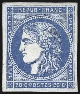 Sale Number 1091, Lot Number 23, France 1870-71 Bordeaux IssuesFRANCE, 1870, 20c Blue on Bluish, Ty. II (44; Yvert 45B), FRANCE, 1870, 20c Blue on Bluish, Ty. II (44; Yvert 45B)
