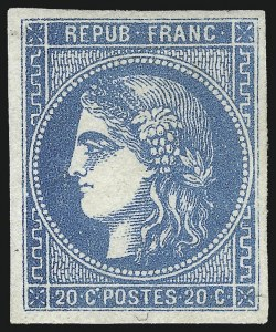 Sale Number 1091, Lot Number 24, France 1870-71 Bordeaux IssuesFRANCE, 1871, 20c Blue on Bluish, Ty. III (45; Yvert 46B), FRANCE, 1871, 20c Blue on Bluish, Ty. III (45; Yvert 46B)