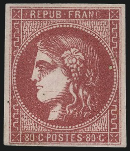 Sale Number 1091, Lot Number 27, France 1870-71 Bordeaux IssuesFRANCE, 1870, 80c Rose on Pinkish (48; Yvert 49), FRANCE, 1870, 80c Rose on Pinkish (48; Yvert 49)