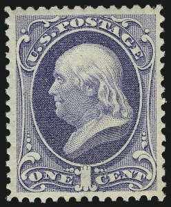 Sale Number 1092, Lot Number 1126, 1870-75 National and Continental Bank Note Co. Issues (Scott 134-179)1c Ultramarine (156). Mint N.H, 1c Ultramarine (156). Mint N.H