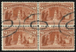 Sale Number 1092, Lot Number 1184, 1893 Columbian Issue (Scott 230-245)$1.00 Columbian (241), $1.00 Columbian (241)