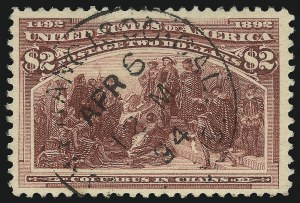 Sale Number 1092, Lot Number 1185, 1893 Columbian Issue (Scott 230-245)$2.00 Columbian (242), $2.00 Columbian (242)